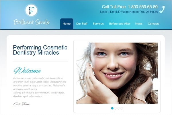 Dental Website Templates - Template with Phone Number