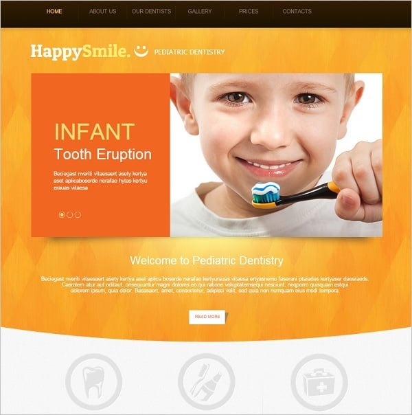Dental Website template in Orange