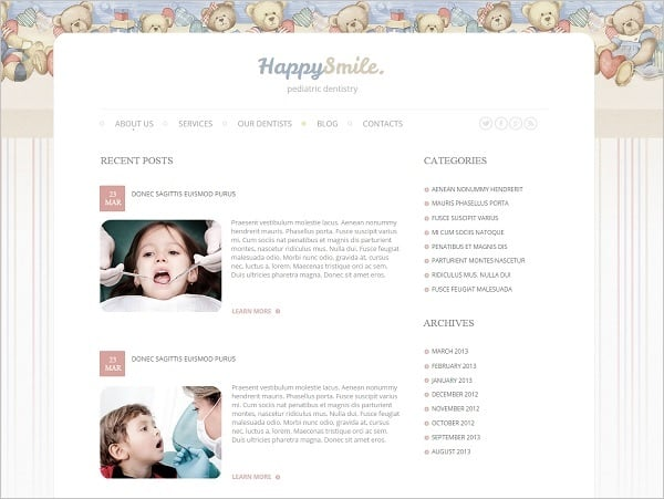 Dental Website templates - Template with Blog