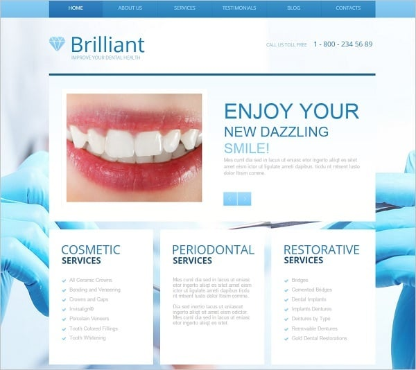 Dental Website Templates - Template in Blue