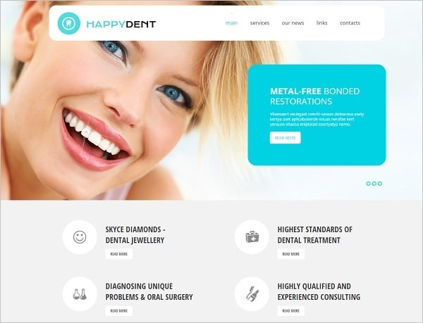 Dental Website templates - Website template in blue