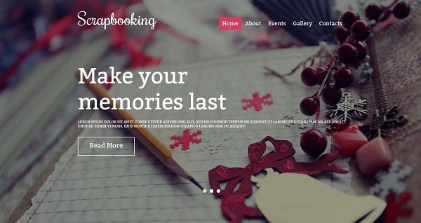 Website Template for Scrapbooking Studio