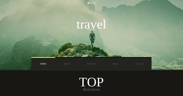 Hero Images Web Design - Travel Website Template in Dark Colors