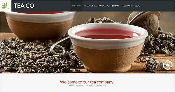 Hero Images Web Design - Template for Tea Company
