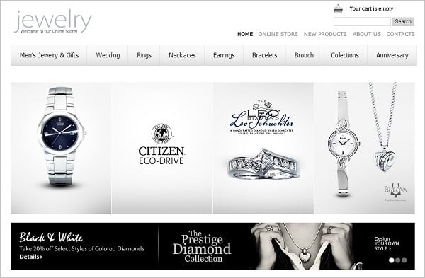 Jewelry Website Design - Monochrome Website Template