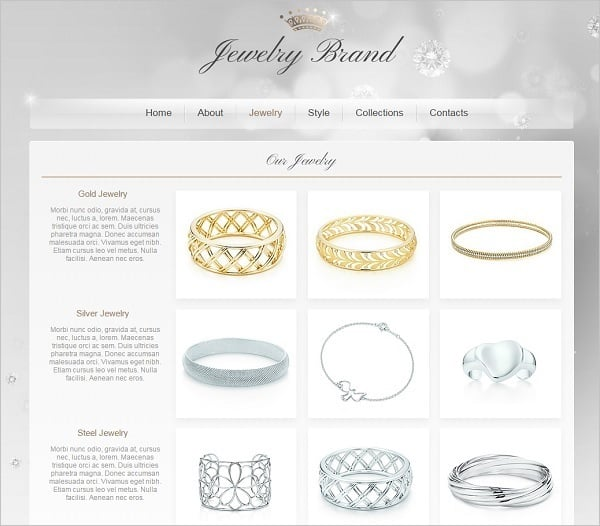 Jewelry Website Design - Web template in Grey tones