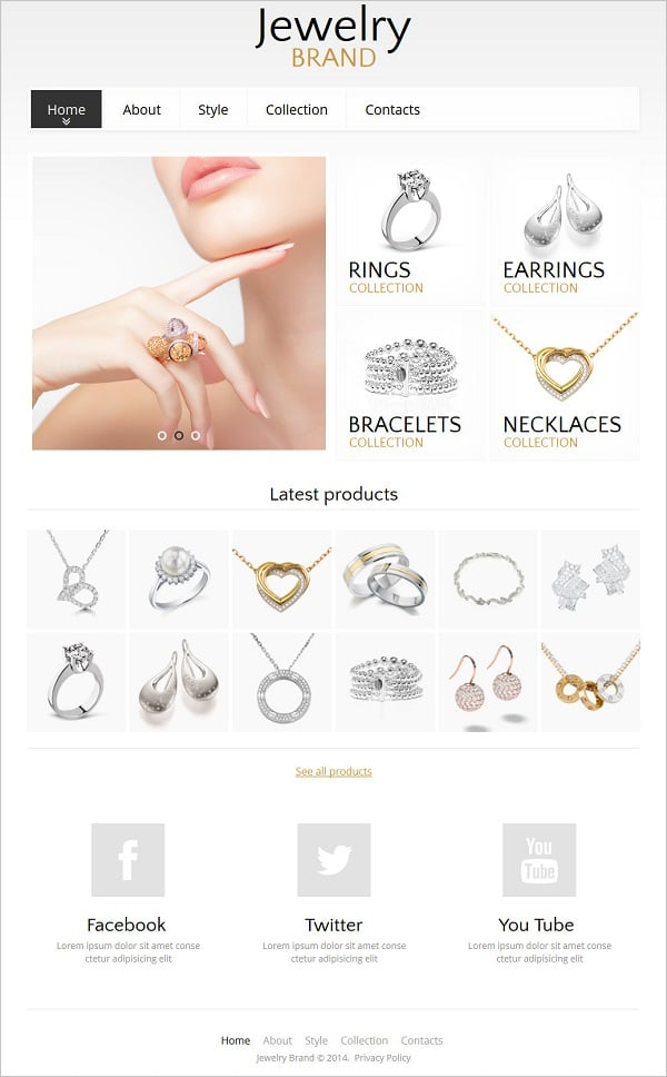 Jewelry Website Design - Web Template with Social Buttons