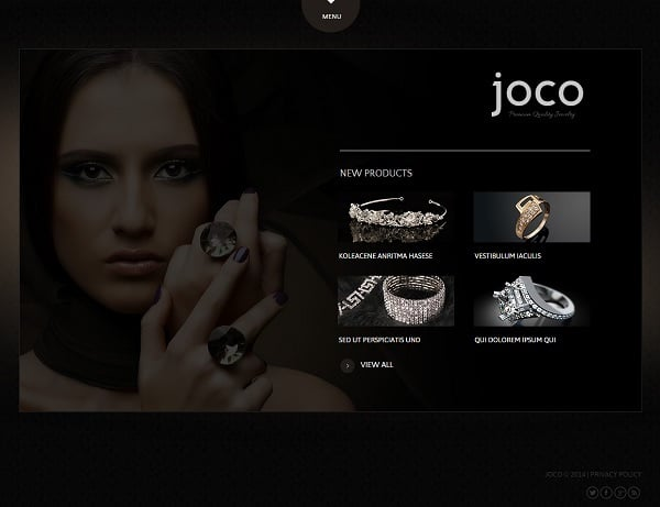 Jewelry Website Design - Black Website Template