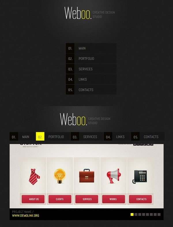 Vertical Navigation Bar Design - Minimalist Web Template for Design Studio