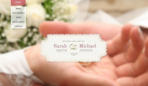 Vertical Navigation Bar Design - Wedding Website Template in Pastel Colors