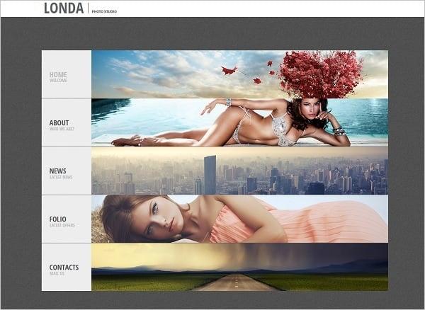 Vertical Navigation Bar Design - Photo Portfolio Website Template
