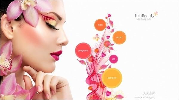 Vertical Navigation Bar Design - Beauty Parlor Website Template