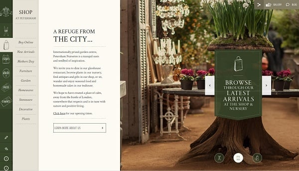 Vertical Navigation Bar Design - Petersham Nurseries