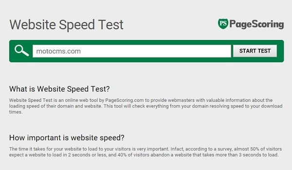 Page Speed Testing Tools - Pagescoring
