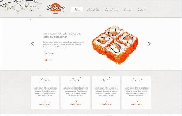 Restaurant Website Design for Japan Cuisine