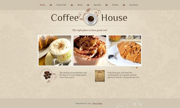 Restaurant Website Design - Cafe