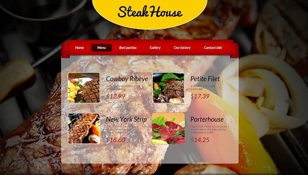 Restaurant Website Design with Menu