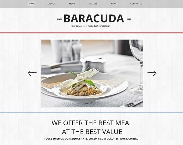 Minimalist Restaurant Website Design