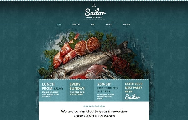 Restaurant Website Design in Marine Colors