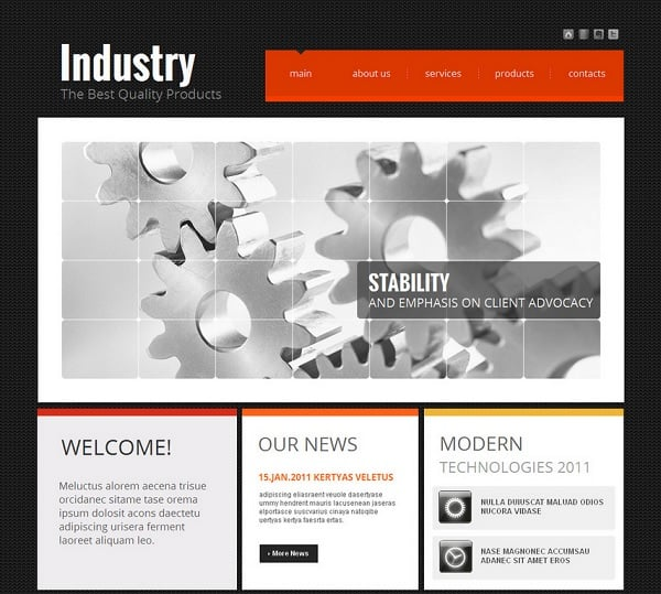 Futuristic Website Templates - Industrial Techno-Style Website Template
