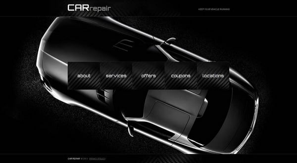 Futuristic Website Templates - Car Repair Website Template in Black