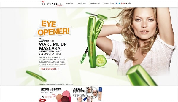 Parallax scrolling websites - Rimmel