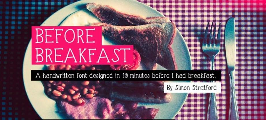 Handwritten fonts 2017 - Before breakfast