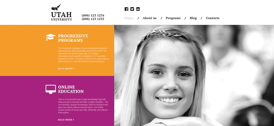 Best education website design - online university
