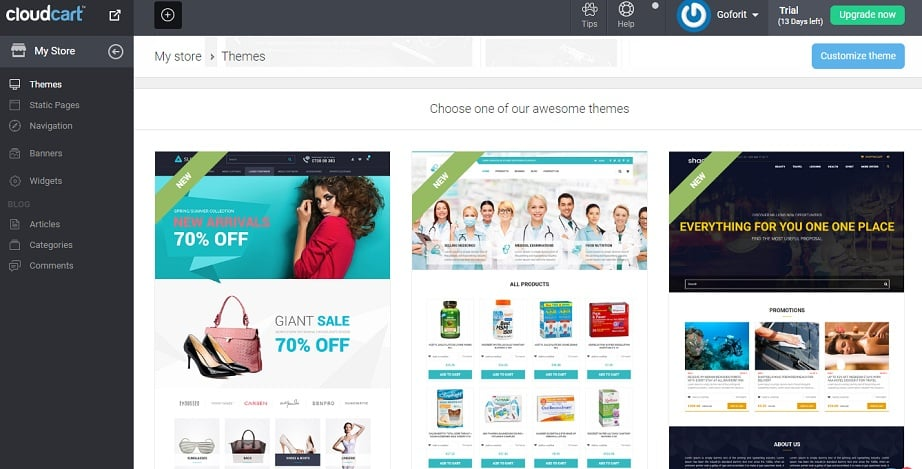 Best Website Builders for eCommerce 2017 - CloudCart collection