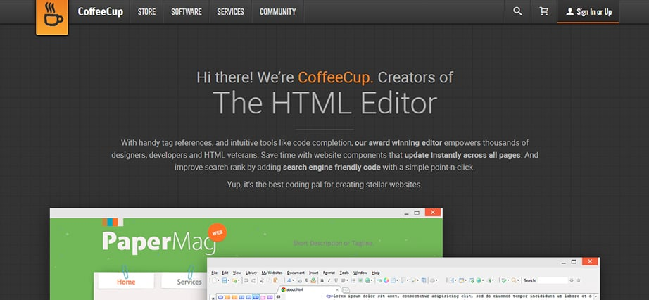 Free web design software for Mac - Coffee Cup