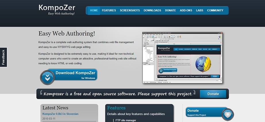 Free web design software for Mac - KompoZer