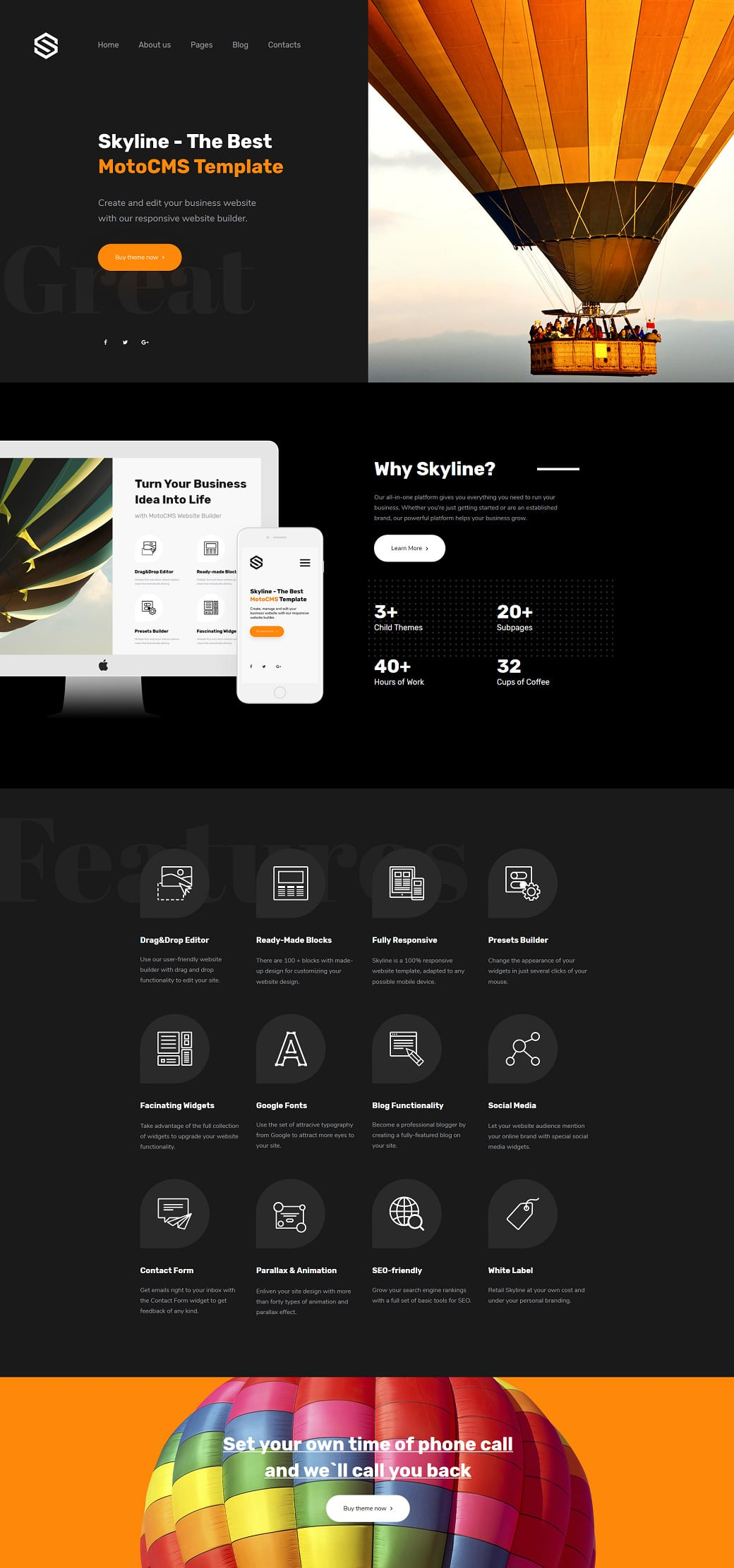 Skyline Business Website from MotoCMS - dark extra home page