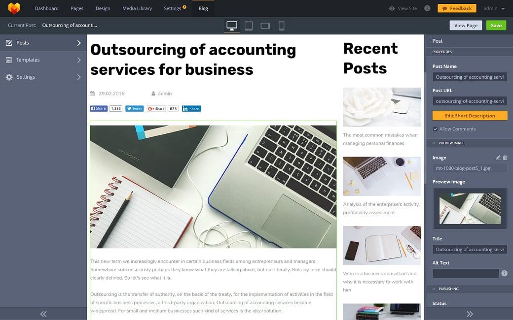 Skyline Business Website from MotoCMS - blog functionality