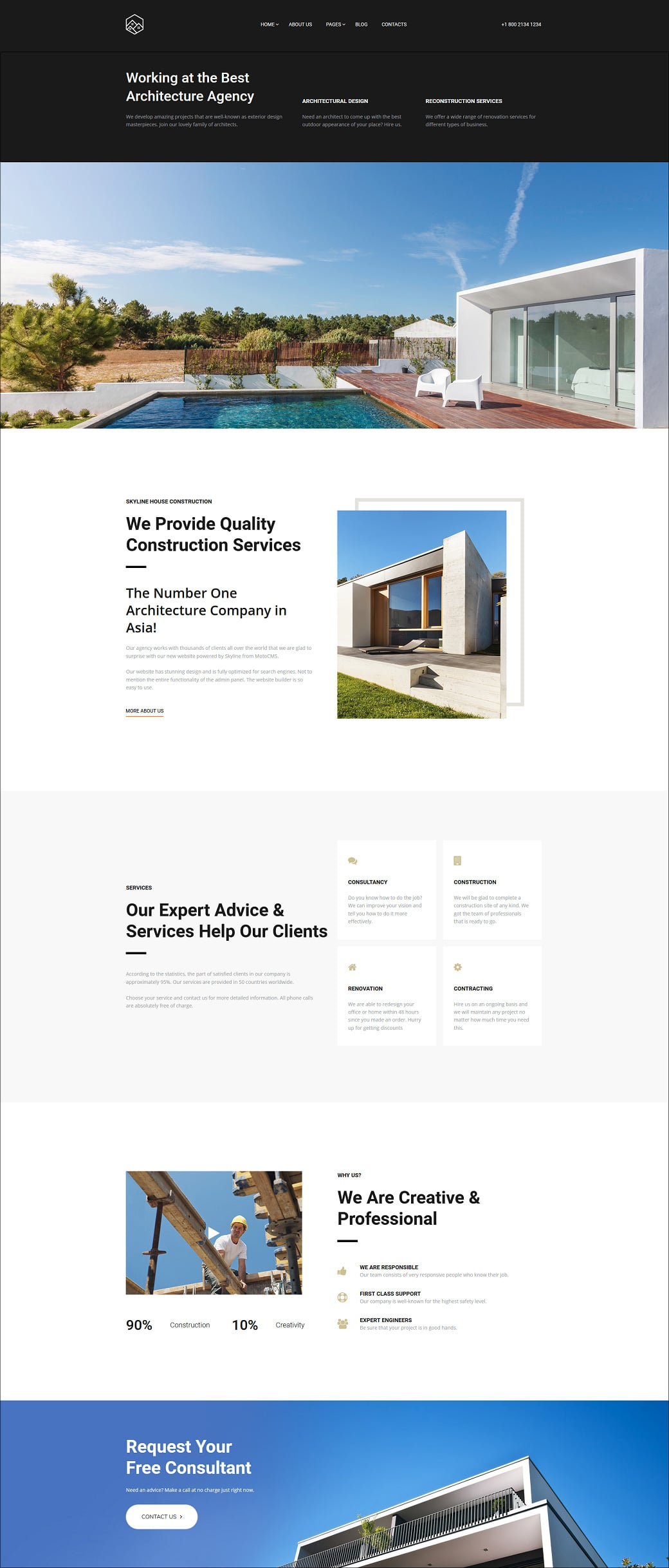 Skyline Business Website from MotoCMS - house construction extra home page