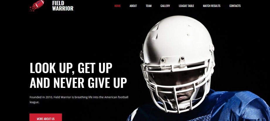 amercan footbal Sports Website Design