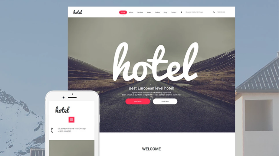 minimalist design for hotel website
