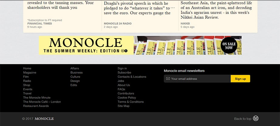 Monocle footer