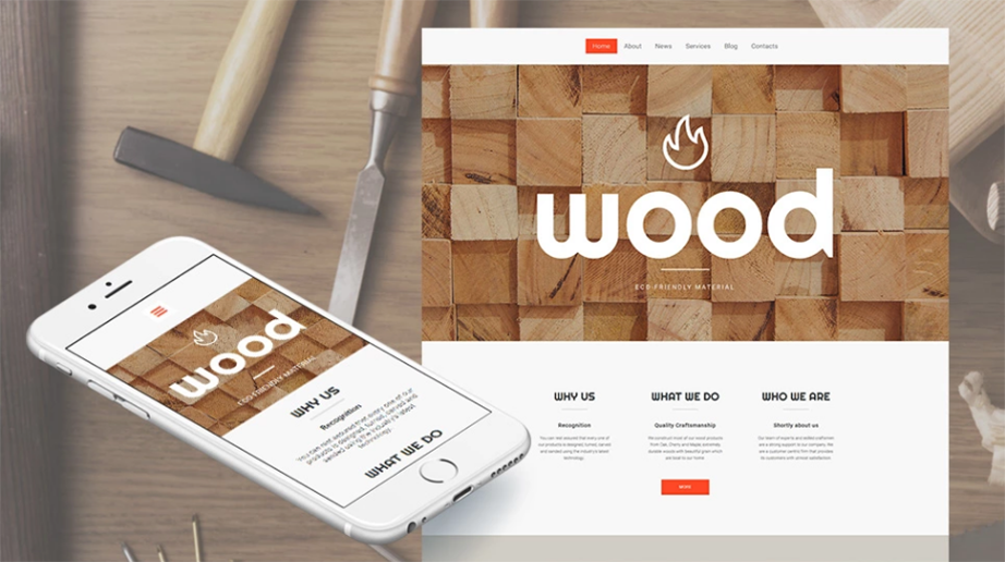wood responsive website template