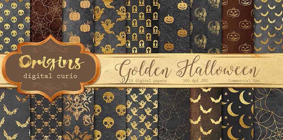 Gold Halloween Digital Paper