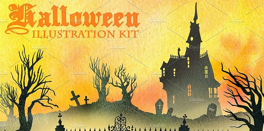 Halloween Websites Illustration Kit