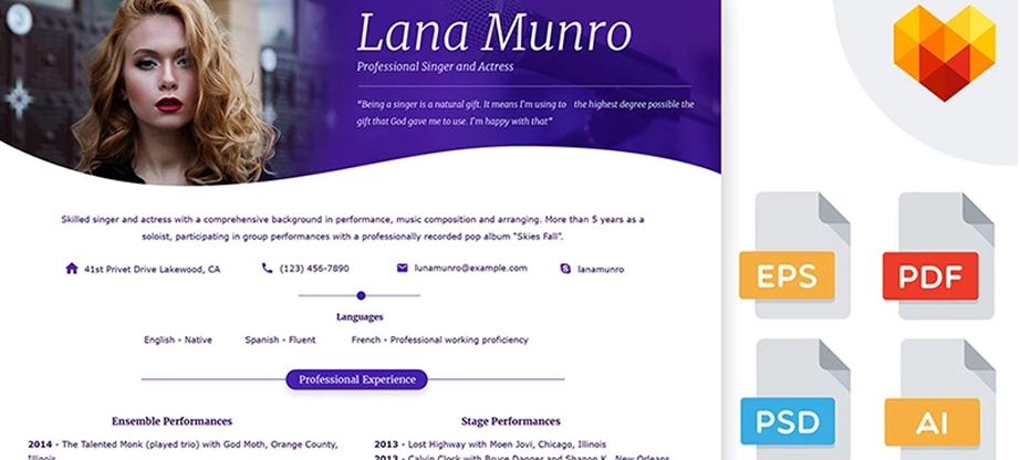 Singer Professional Resume Template