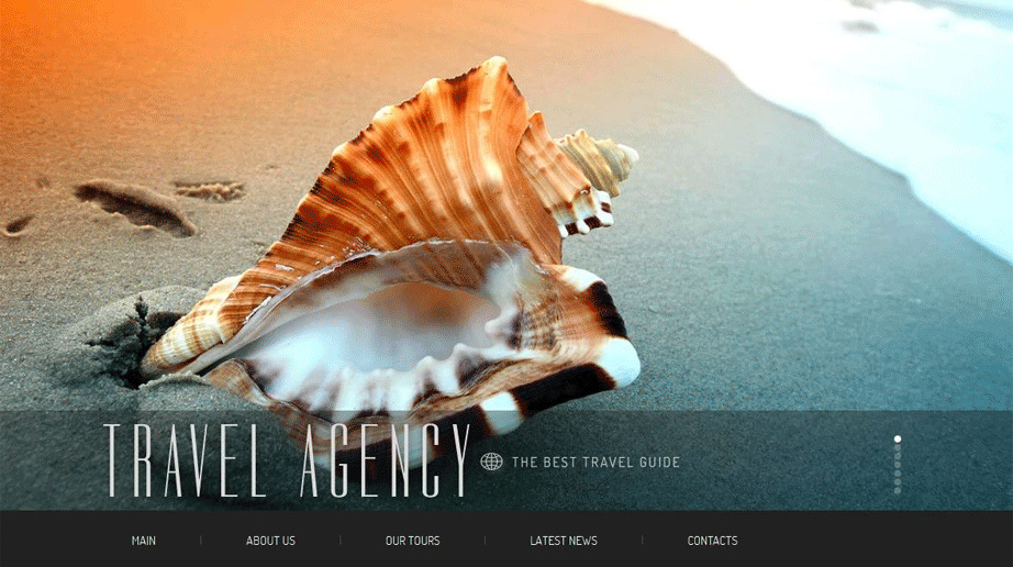 Travel Company Template with Visual Elements and Bottom Menu