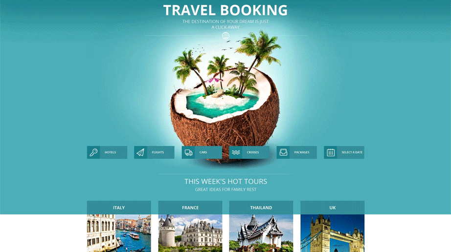 Travel Website Template Done in Sea Green Color