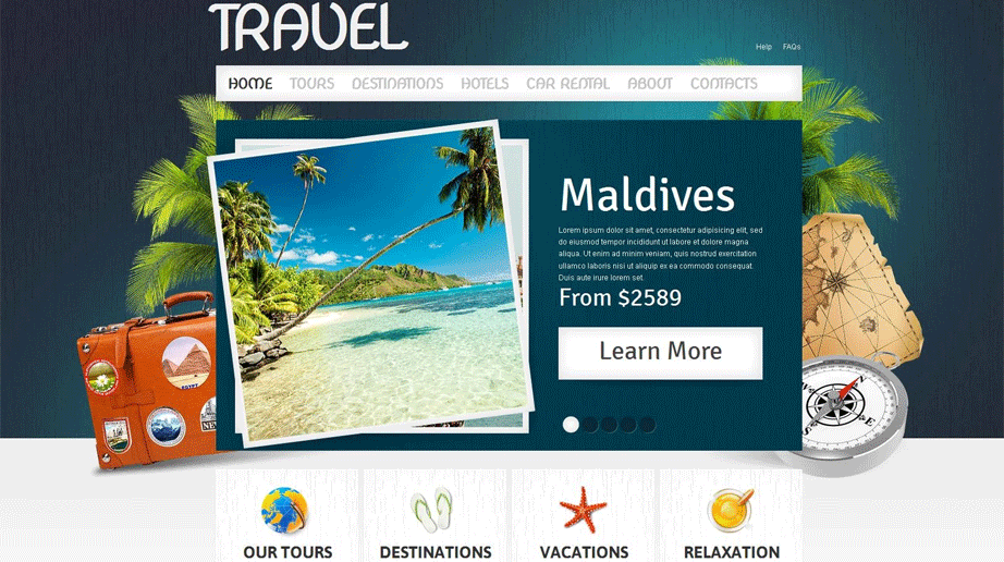 Travel Web Template with Header Image Background