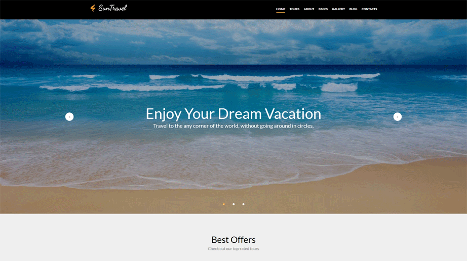 Sun Travel Responsive Website Template