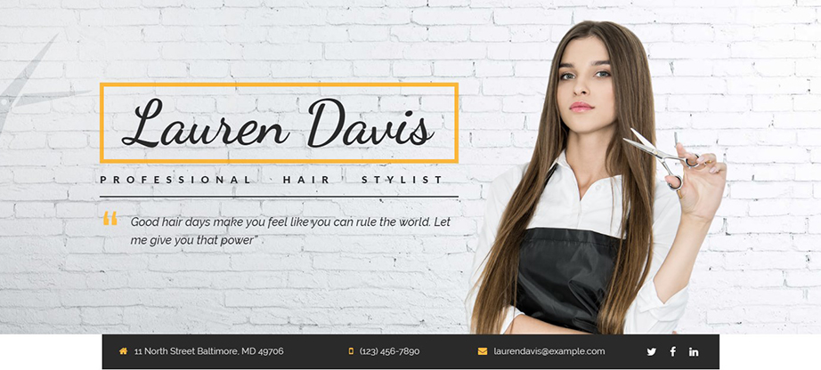 Landing Builder Hair Stylist CV Theme