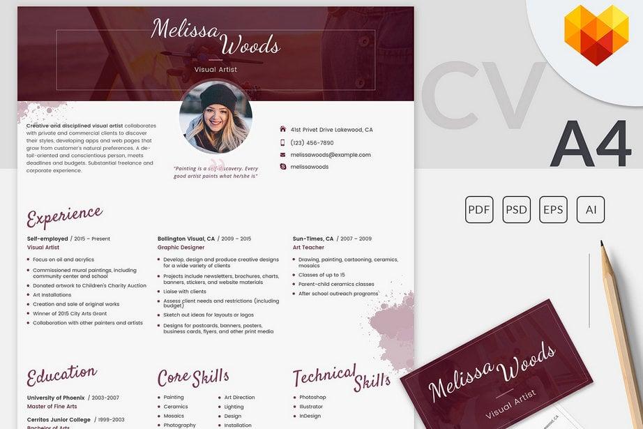 resume templates visual artist image