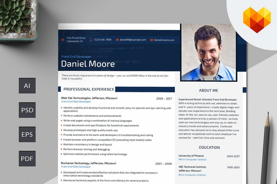 resume templates developer image