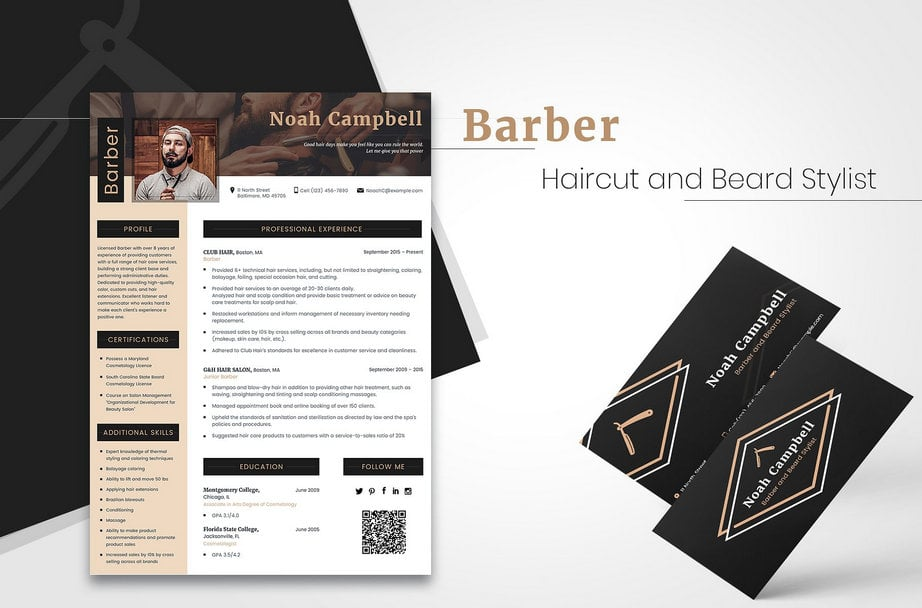 resume templates barber image