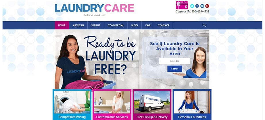 Laundry Care laundry website design